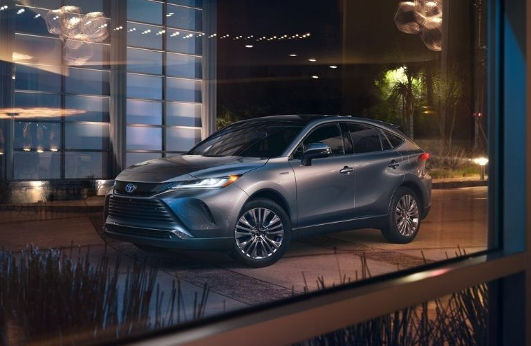 2021 Toyota Venza grey parked beside a building