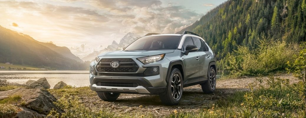 2021 Toyota RAV4 in front of a scenic background