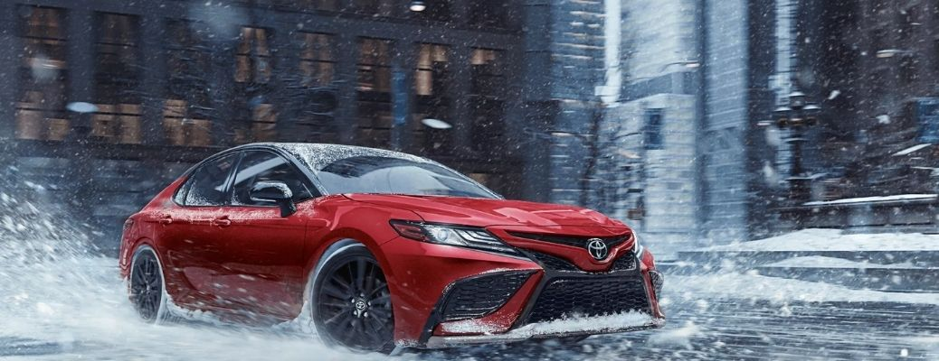 2022 Toyota Camry on an icy road