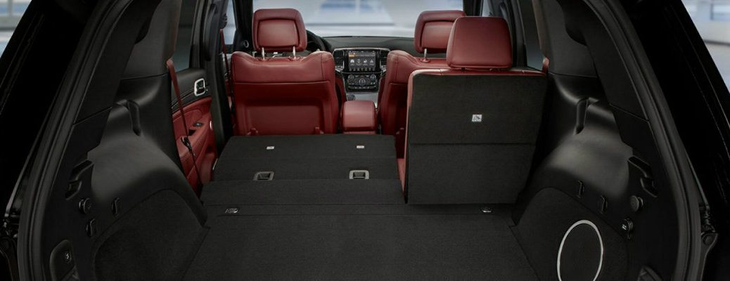 2019 Jeep Grand Cherokee interior shot of cargo space with folded down second row seating