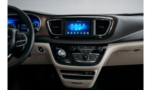 2020 Chrysler Voyager interior shot of dashboard and infotainment system screen