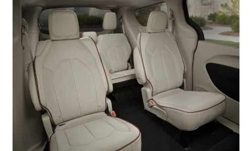 2020 Chrysler Pacifica interior shot of 2nd and 3rd row seating upholstery