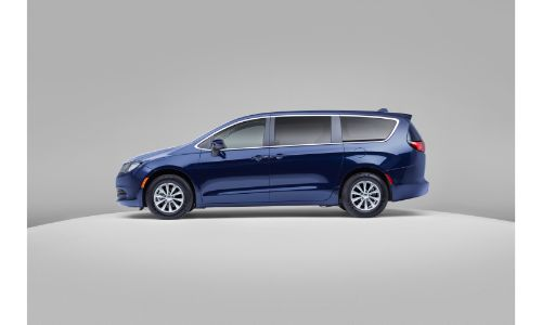 2020 Chrysler Voyager exterior side shot with blue paint color