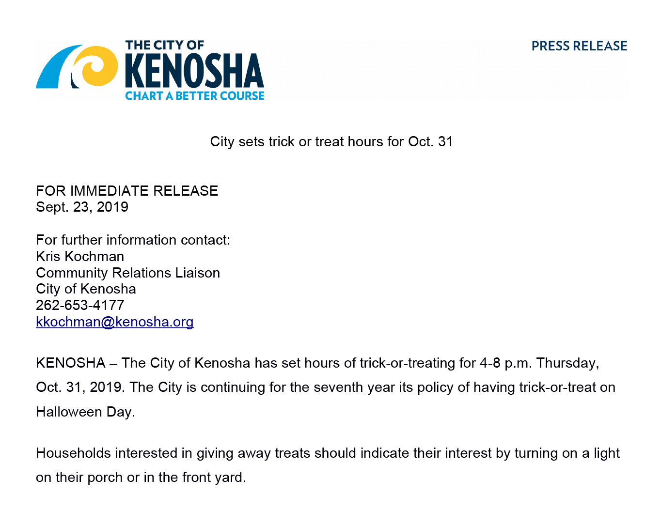 City of Kenosha Public Press Release on trick or treat times and hours for Halloween 2019 on October 31st