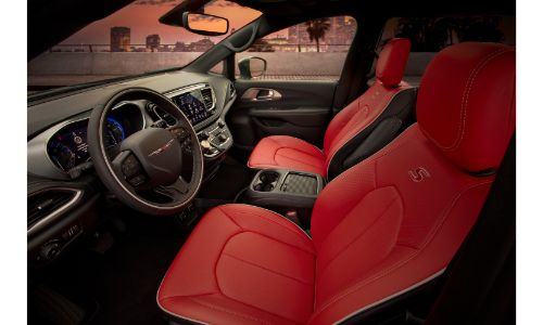 2020 Chrysler Pacifica Red S Edition interior side shot of front seating with red nappa leather upholstery and Red S Edition stitching