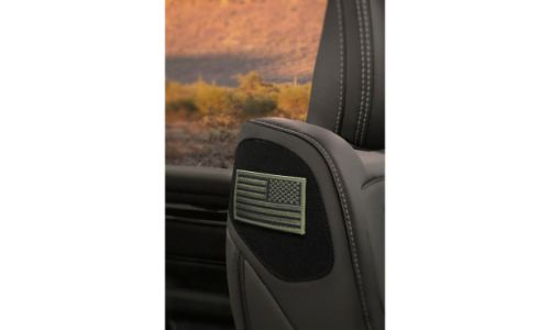2020 Ram 1500 Built to Serve Edition interior shot of seating shoulder American flag stitching