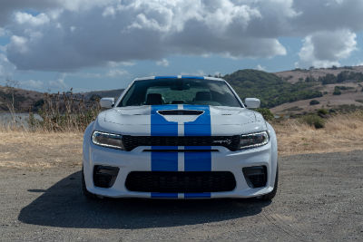 2020 Dodge Charger SRT Hellcat white with blue racing stripes exterior front fascia