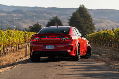 2020 Dodge Charger SRT Hellcat red exterior rear fascia passenger side in orchard