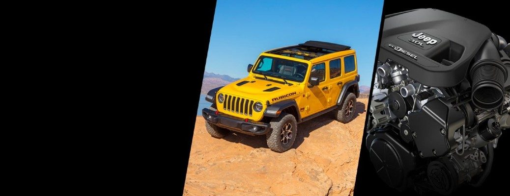 2020 Jeep Wrangler Rubicon exterior shot with yellow paint color alongside shot of EcoDiesel engine option in a collage