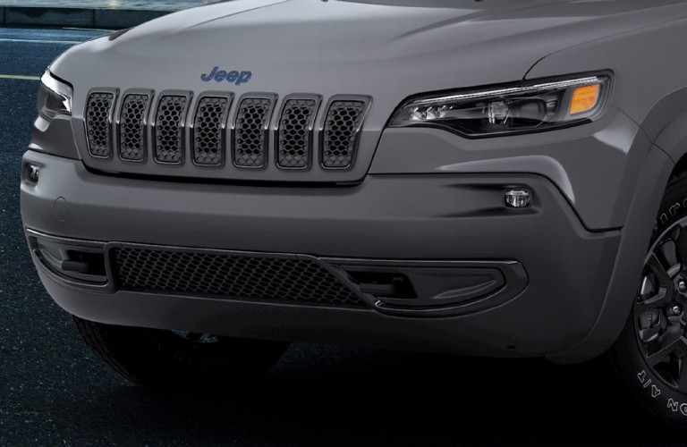 Grille and headlights on grey 2020 Jeep Cherokee Upland