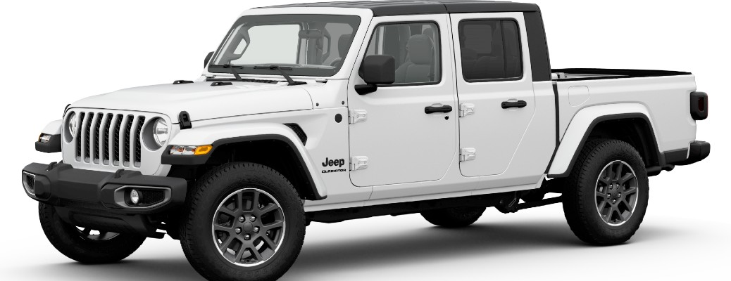 2020 Jeep Gladiator Altitude exterior promo shot with white paint color
