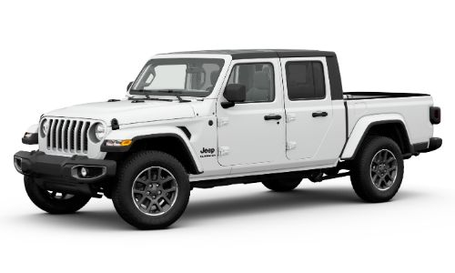2020 Jeep Gladiator Altitude exterior front promo shot with Bright White Clear-Coat paint color
