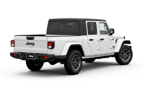 2020 Jeep Gladiator Altitude exterior rear promo shot with Bright White Clear-Coat paint color