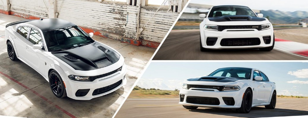 2021 Dodge Charger SRT Hellcat Redeye Widebody image collage with white paint color on a desert racetrack