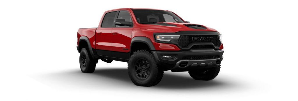 2021 Ram 1500 TRX Flame Red Clear-Coat Exterior Paint and Diamond Black Crystal Pearl-Coat