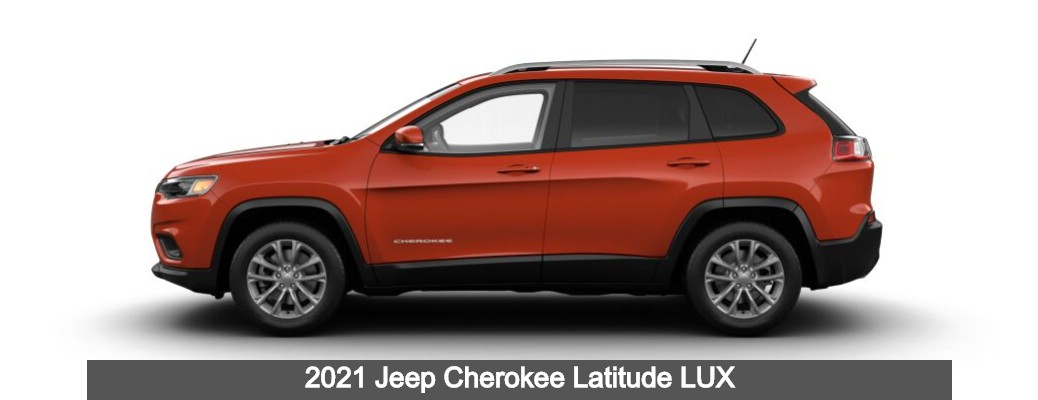 2021 Jeep Cherokee Latitude LUX with Spitfire Orange Clear-Coat paint color exterior side shot