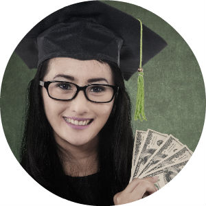 Pretty College Student with Glasses and Graduation Cap Holding Money
