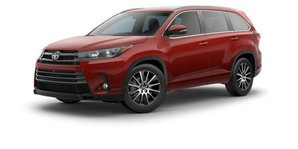 Side view of 2017 Toyota Highlander in Salsa Red Pearl