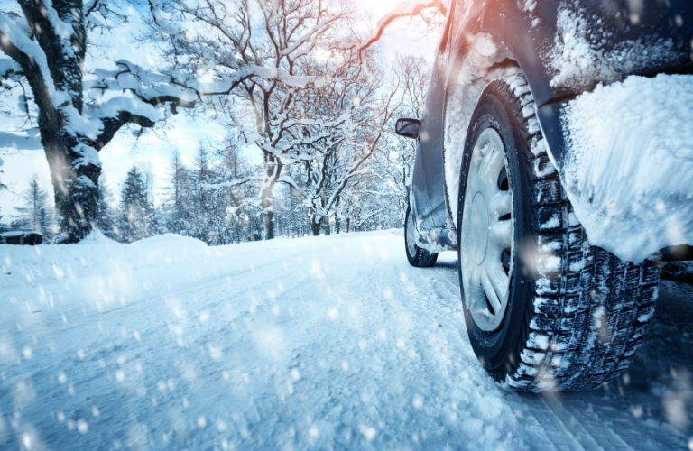 Closeup of a car's wheels in the snow