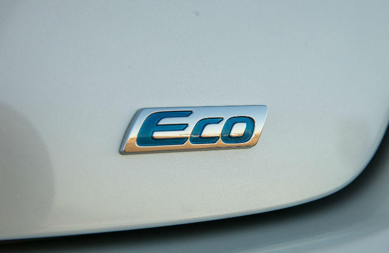 "Closeup of 2017 Toyota Prius Two Eco ""Eco"" badge"