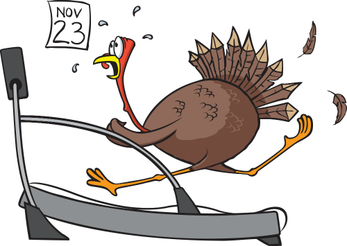 Turkey running on a treadmill