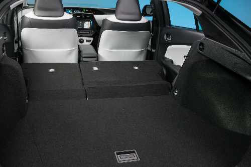 2017 Toyota Prius cargo space with the rear seats folded down