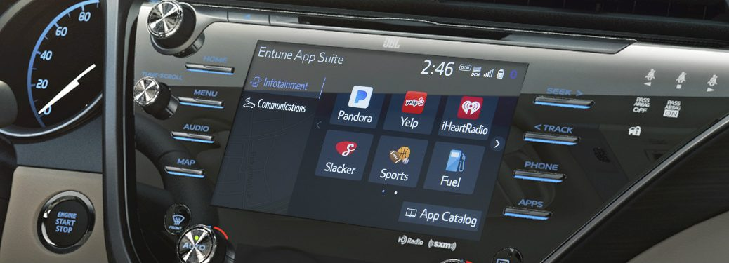 Close up of a Toyota touchscreen with the Entune App suite