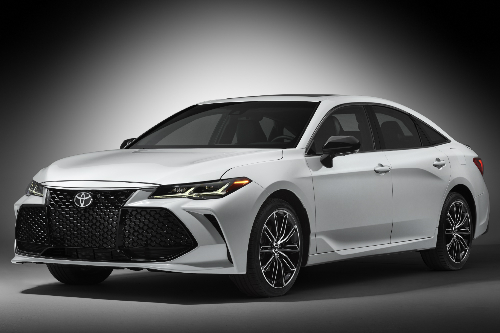 2019 Toyota Avalon exterior in white on a grey background