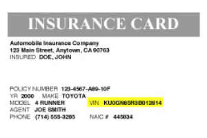 Graphic of where to find your VIN on an insurance card