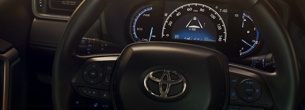2019 Toyota RAV4 digital driver gauges and steering wheel