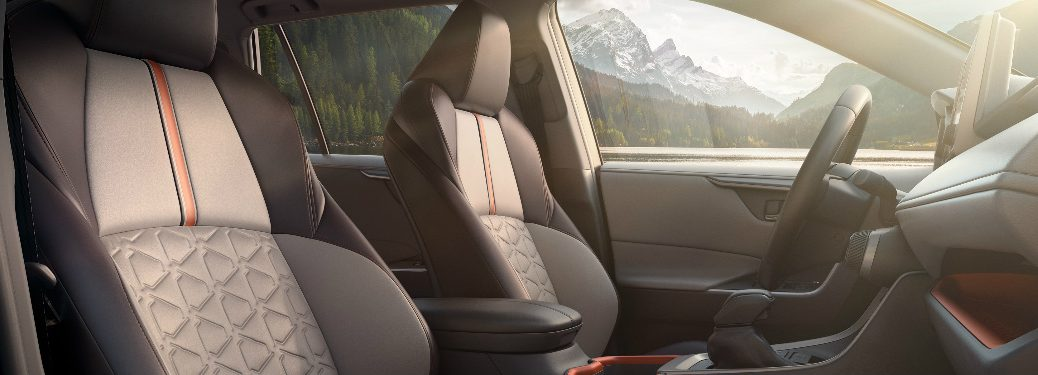 2019 Toyota RAV4 front interior seats and steering wheel