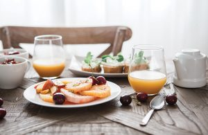 Breakfast items decoratively placed on a table