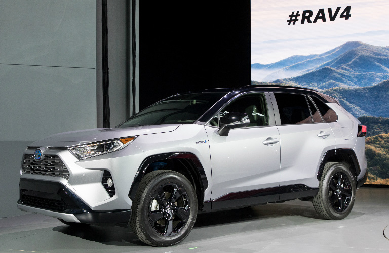 2019 Toyota RAV4 in white on stage at the New York Auto Show