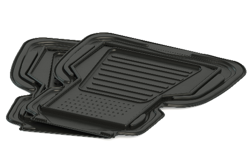 Two rubber floor mats on a black background