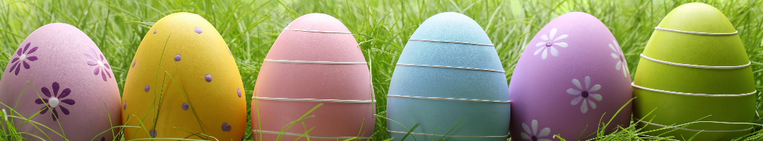 Colored Easter eggs sitting in a line in grass