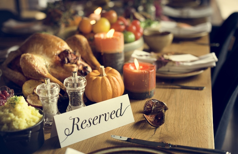 Reserved Sign on Thanksgiving Table