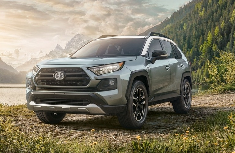 2020 Toyota RAV4 parked in front of large hill