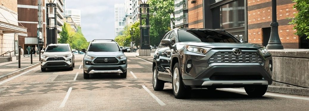 2020 Toyota RAV4 crossovers going down the street