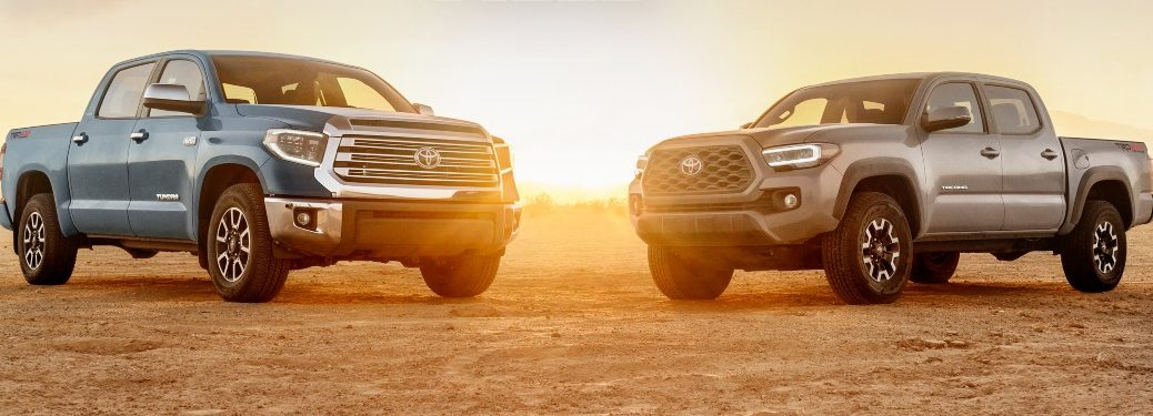 Toyota Tundra and Tacoma side by side in desert