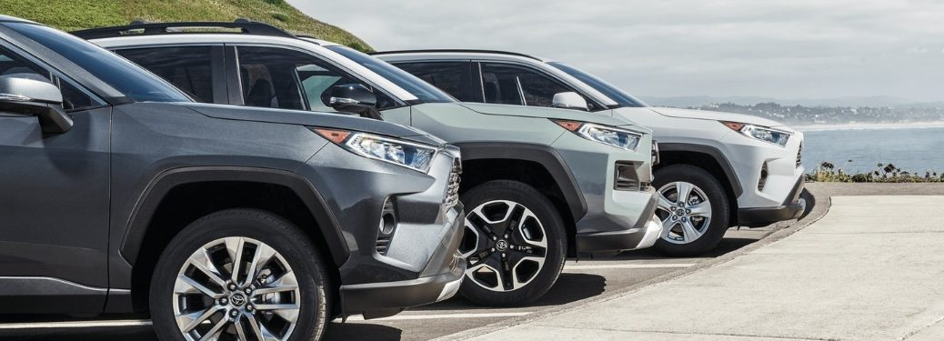 2020 Toyota RAV4 crossovers in a line