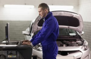 Mechanic working on a vehicle