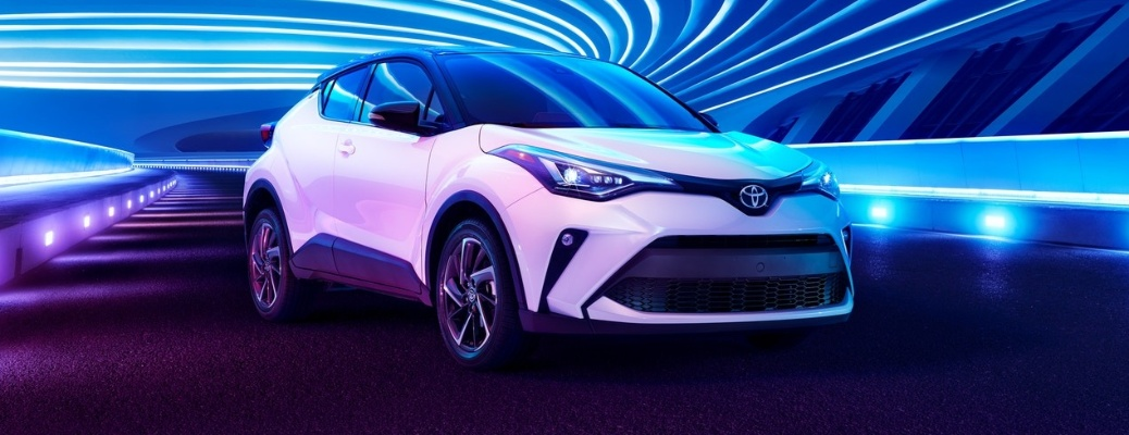 2020 Toyota C-HR with funky lights in background