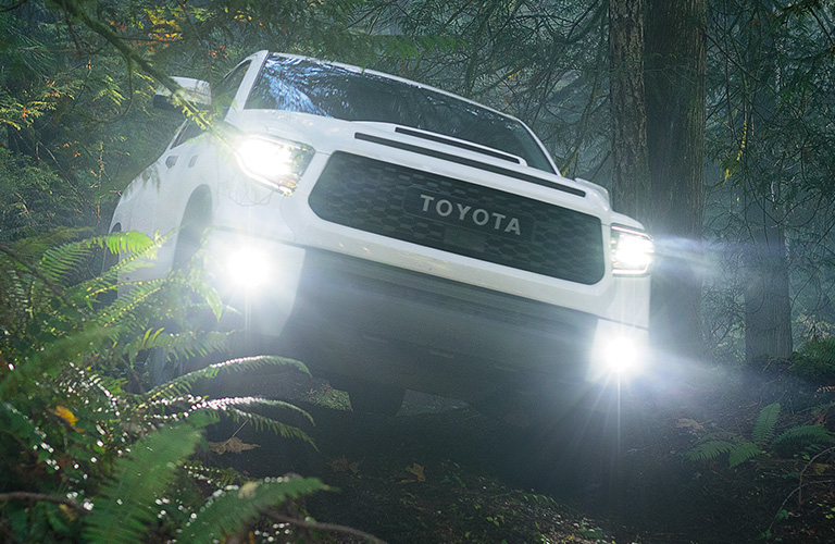 2020 Toyota Tundra going through the forest