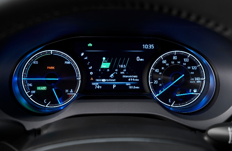 2021 Toyota Venza gauges behind the steering wheel