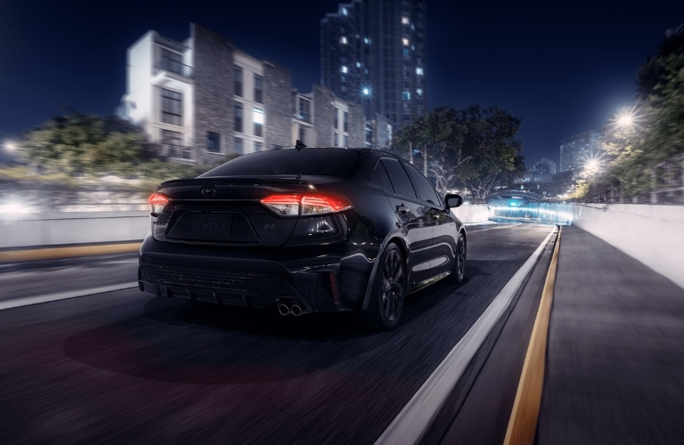 2020 Toyota Corolla with Nightshade edition driving away