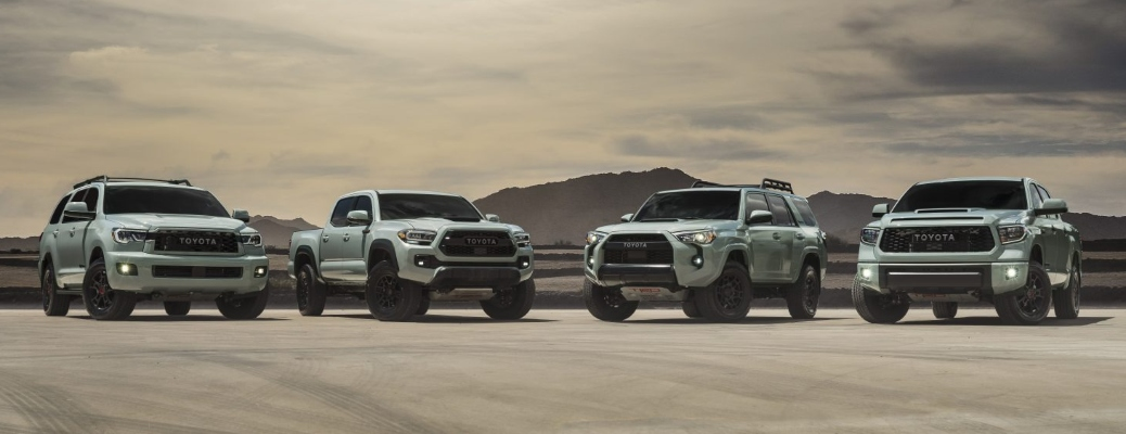 2021 Toyota TRD Pro models lined up in the new Lunar Rock color