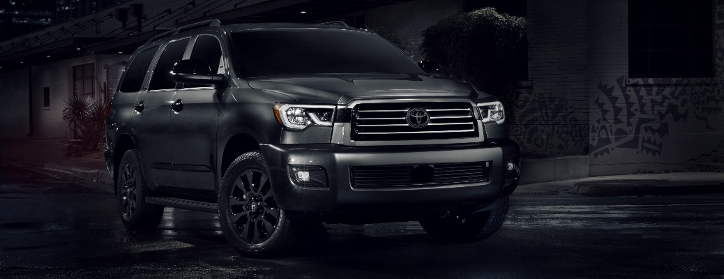 2021 Toyota Sequoia Nightshade Edition going around a corner