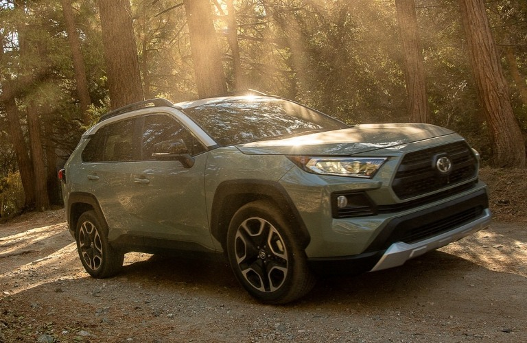 2021 Toyota RAV4 Hybrid going through the woods