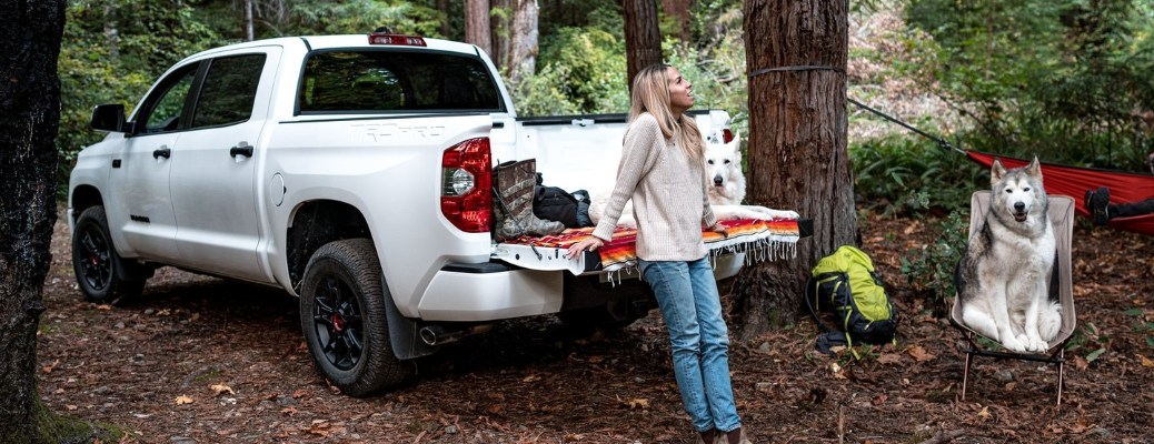 A woman with a 2021 Toyota Tundra and dogs on a camping trip