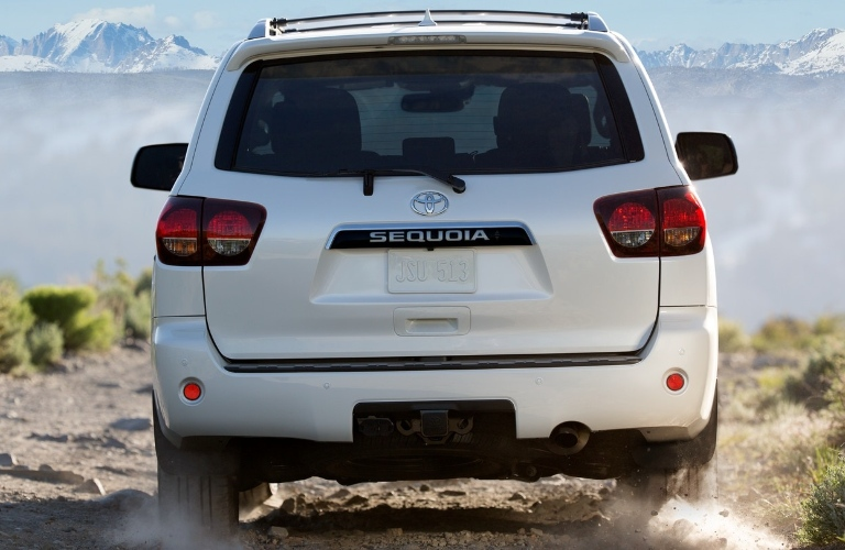 2021 Toyota Sequoia back end facing the mountains